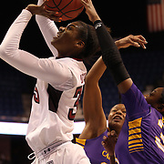Safiya Martin, Temple, has her shot blocked by Janesha Ebron, East Carolina, during the Temple Vs East Carolina Quarterfinal Basketball game during the American Women's College Basketball Championships 2015 at Mohegan Sun Arena, Uncasville, Connecticut, USA. 7th March 2015. Photo Tim Clayton