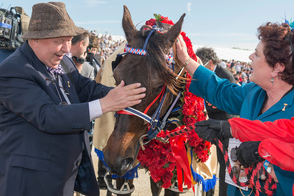 Ardern Rooney driven by Kerryn Manning gets a pat from owners Merv and Meg Butterworth after winning the New Zealand Trotting Cup at the New Zealand Trotting Cup Day, Addington Raceway, Christchurch, New Zealand, Tuesday, 10 November, 2015.<br /> Credit:SNPA / David Alexander