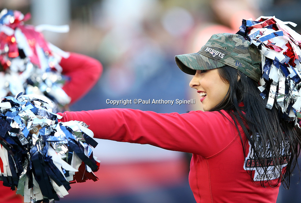 A New England Patriots cheerleader waves her pom poms while doing a sideline dance routine during the 2015 week 9 regular season NFL football game against the Washington Redskins on Sunday, Nov. 8, 2015 in Foxborough, Mass. The Patriots won the game 27-10. (©Paul Anthony Spinelli)