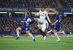 09.05.2019, Stamford Bridge, London, ENG, UEFA EL, FC Chelsea vs Eintracht Frankfurt, Halbfinale, Rückspiel, im Bild Luka Jovic of Eintracht Frankfurt and David Luiz of Chelsea // Luka Jovic of Eintracht Frankfurt and David Luiz of Chelsea during the UEFA Europa League semifinal 2nd leg match between FC Chelsea and Eintracht Frankfurt at the Stamford Bridge in London, Great Britain on 2019/05/09. EXPA Pictures © 2019, PhotoCredit: EXPA/ Focus Images/ Alan Stanford<br /> <br /> *****ATTENTION - for AUT, GER, FRA, ITA, SUI, POL, CRO, SLO only*****