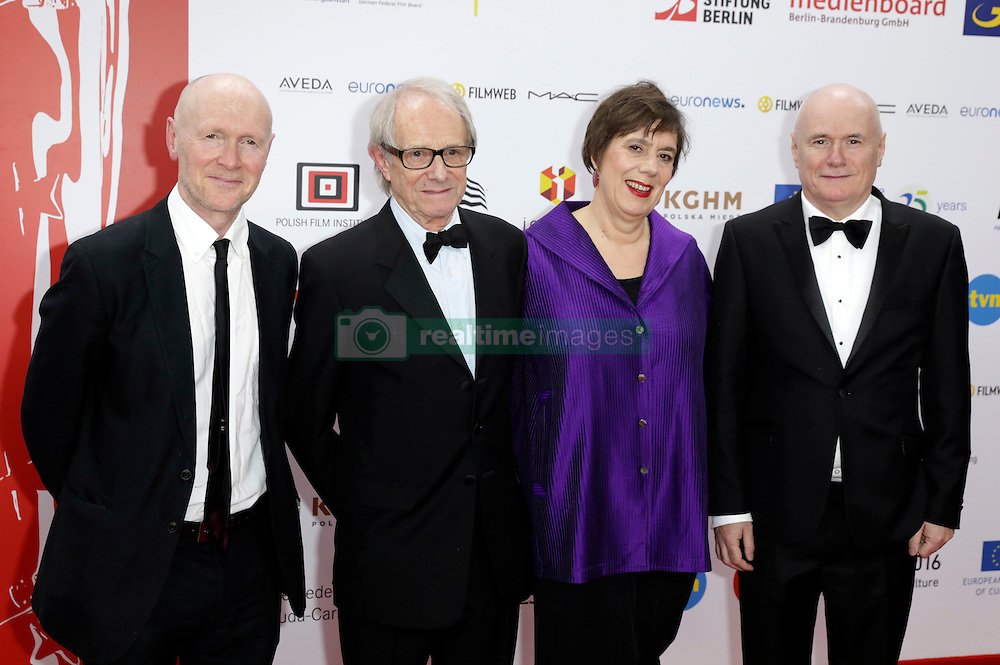 December 10, 2016 - Wroclaw, Lower Silesian, Deutschland - Paul Laverty, Ken Loach, Rebecca O'Brien and Dave Johns attend the 29th European Film Awards 2016 at the National Forum of Music on December 10,2016 in Wroclaw, Poland. (Credit Image: © Future-Image via ZUMA Press)