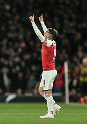 Lucas Torreira of Arsenal celebrates scoring to make it 2-0 - Mandatory by-line: Arron Gent/JMP - 11/04/2019 - FOOTBALL - Emirates Stadium - London, England - Arsenal v Napoli - UEFA Europa League Quarter Final 1st Leg