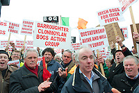 06/03/2013. Dermot Moran Clonmoylan protesting near the court house in Loughrea where turf cutters where up on charges in relation to the cutting of turf in an area of conservation. Picture:Andrew Downes