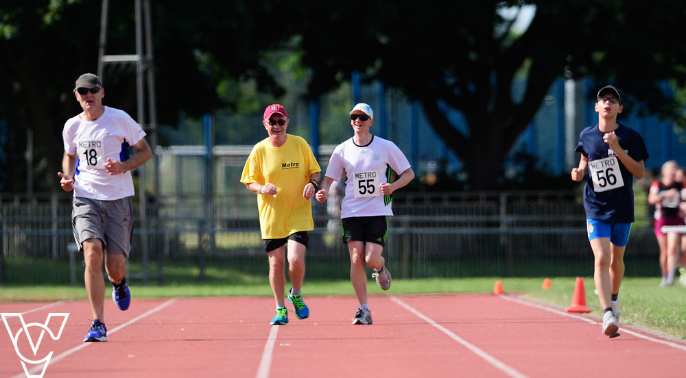 Metro Blind Sport's 2017 Athletics Open held at Mile End Stadium.  5000m.  From left, David Beynon, Competitor #55 with guide runner and Aaron Reynolds<br /> <br /> Picture: Chris Vaughan Photography for Metro Blind Sport<br /> Date: June 17, 2017
