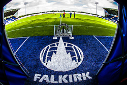 "The :Falkirk"" sign on the entrance to the tunnell area, at The Falkirk Stadium, for the Scottish Championship game v Hamilton. The woven GreenFields MX synthetic turf and the surface has been specifically designed for football with 50mm tufts compared with the longer 65mm which has been used for mixed football and rugby uses.  It is fully FFA two star compliant and conforms to rules laid out by the SPL and SFL.<br />