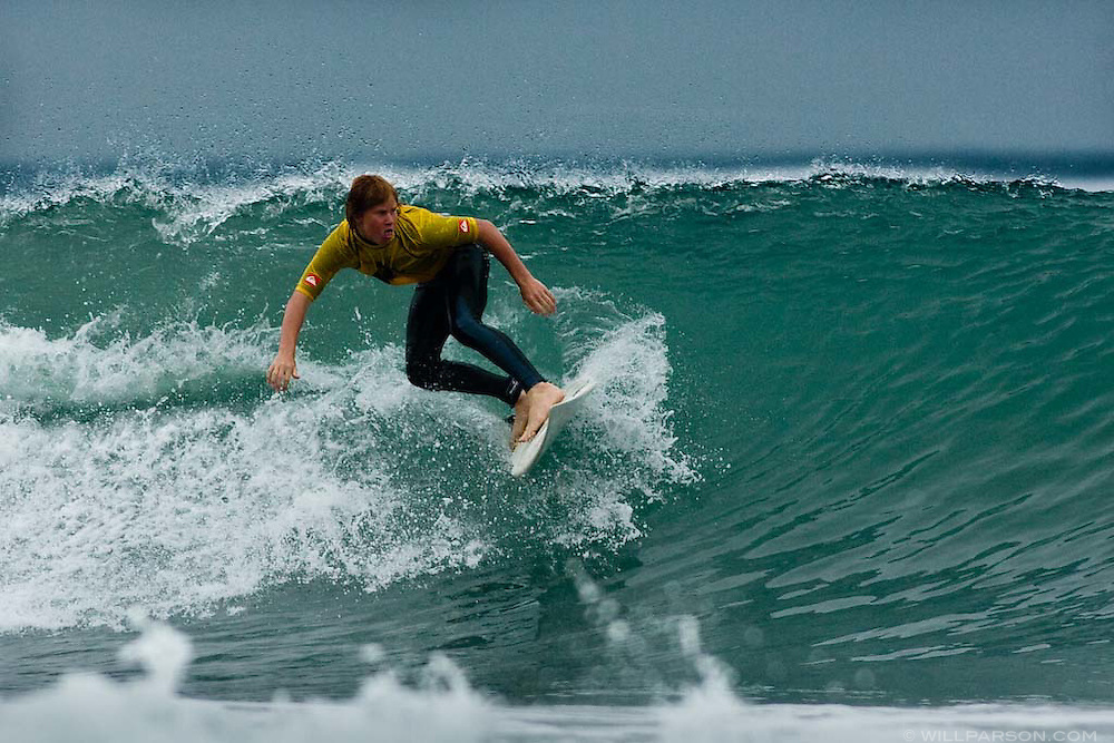 Kyle Perdue competes in the age 14-17 category of the first annual Grom-o-rama youth surf tournament in Solana Beach, California on August 23, 2008.
