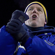 A fan during the game between Delaware and New Hampshire screams at the ref HOLDING ON UNH. No. 5 Delaware defeats No.11 New Hampshire 16-3 on a brisk Friday night at Delaware stadium in Newark Delaware...Delaware will host the Division I FCS Championship Semifinals Round next weekend.