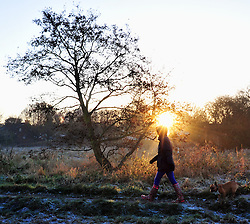 © Licensed to London News Pictures. 04/12/2016<br /> Sunrise as a lady walks her dog.<br /> A Freezing and icy cold morning at Footscray Meadows in Sidcup,Kent.<br /> Photo credit :Grant Falvey/LNP