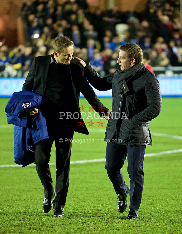 KINGSTON-UPON-THAMES, ENGLAND - Monday, January 5, 2015: Liverpool's manager Brendan Rodgers and AFC Wimbledon's manager Neal Ardley before the FA Cup 3rd Round match at the Kingsmeadow Stadium. (Pic by David Rawcliffe/Propaganda)