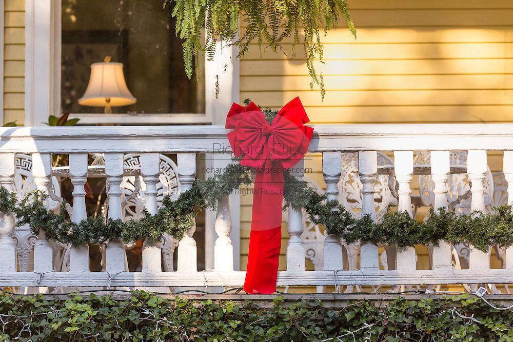 Christmas bow on a historic home Savannah, GA.