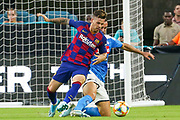 FC Barcelona midfielder Coutinho ( 7) frights for possession of the ball in a game with SSC Napoli during a La Liga-Serie A Cup soccer match, Wednesday, Aug. 7, 2019, in Miami Gardens, Fla. FC Barcelona beat Napoli 2-1 (Kim Hukari/Image of Sport)