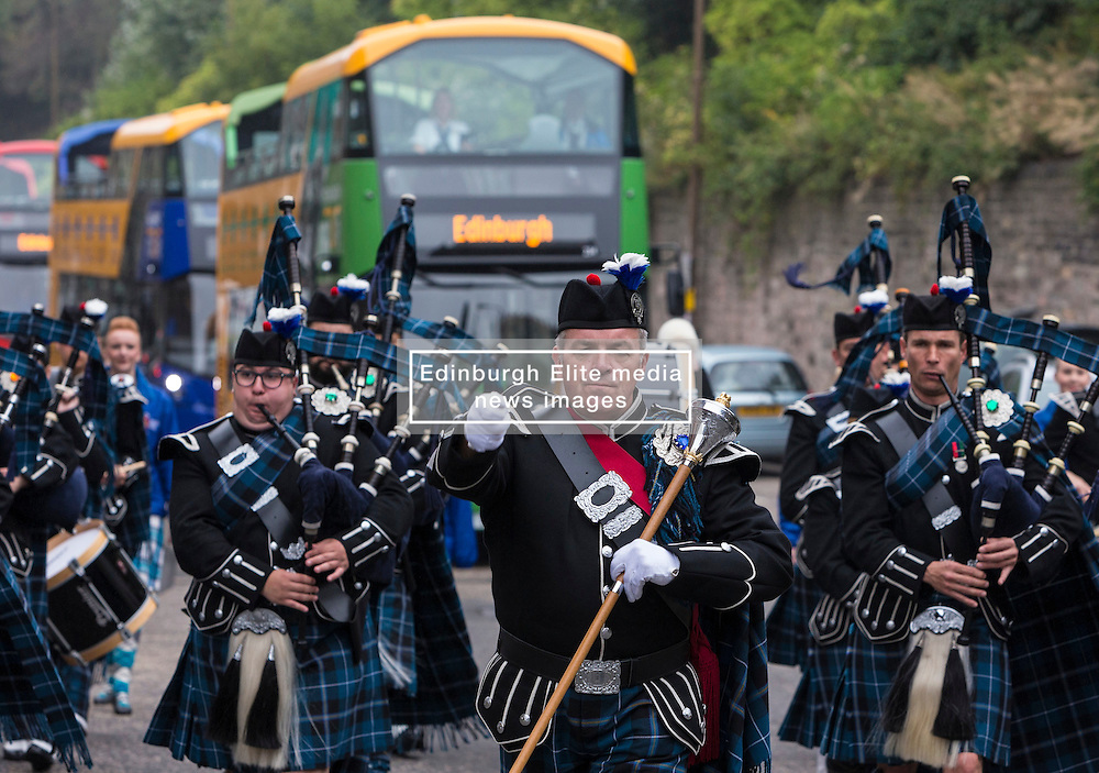 Military Tattoo pipers unveil new open-top tour buses. Lothian Buses has invested in 30 new open-top double deck vehicles for Edinburgh Bus Tours. The buses will begin operating across three of its routes in the coming weeks.<br /> <br /> <br /> (c) Richard Dyson  Edinburgh Elite media