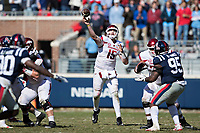 OXFORD, MS - OCTOBER 28:  Cole Kelley #15 of the Arkansas Razorbacks throws a pass during a game against the Ole Miss Rebels at Hemingway Stadium on October 28, 2017 in Oxford, Mississippi.  The Razorbacks defeated the Rebels 38-37.  (Photo by Wesley Hitt/Getty Images) *** Local Caption *** Cole Kelley