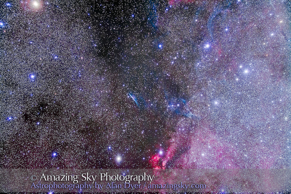 NGC 2736, the Pencil Nebula, or Herschel&rsquo;s Ray, a part of the Vela Supernova Remnant, indeed the most prominent part. Other wisps of the SNR can be seen in the frame here. The red nebula below is RCW38. <br /> <br /> This is a stack of 10 x 6 minute exposures with the Borg 77mm astrograph at f/4 and filter-modified Canon 5DMkII at ISO 1600, taken from Tibuc Cottage, Australia, April 11, 2016.