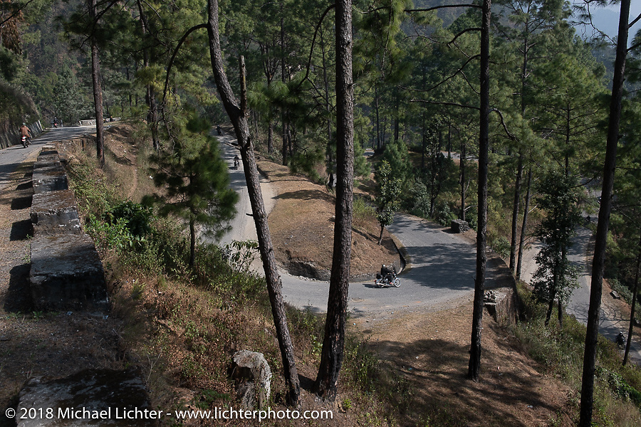 Bean're in a big turn as we navigated many mountain switchbacks on day-2 of our Himalayan Heroes adventure riding from Daman to Chitwan, Nepal. Wednesday, November 7, 2018. Photography ©2018 Michael Lichter.