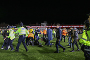 Trouble flares after the match with pitch invasion during the The FA Cup match between Sutton United and Arsenal at Gander Green Lane, Sutton, United Kingdom on 20 February 2017. Photo by Phil Duncan.