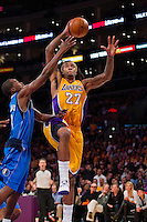30 October 2012: Forward (27) Jordan Hill of the Los Angeles Lakers rises to dunk the ball against the Dallas Mavericks during the second half of the Mavericks 99-91 victory over the Lakers at the STAPLES Center in Los Angeles, CA.