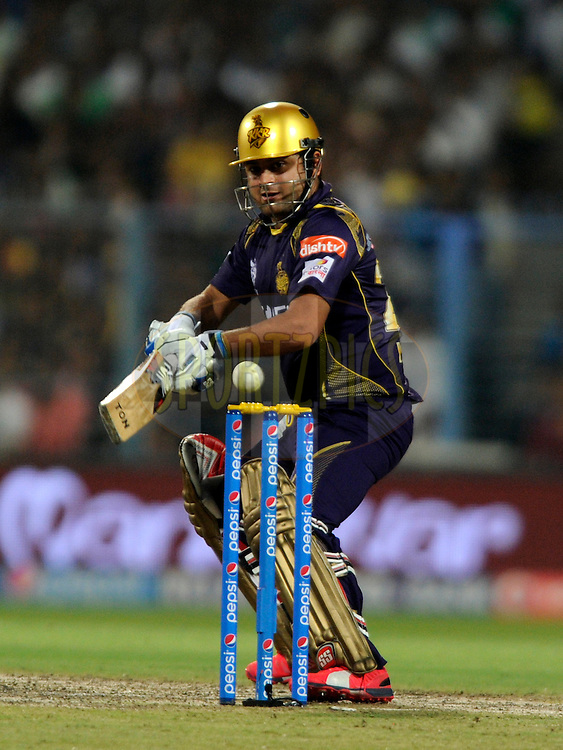 Piyush Chawla of Kolkata Knight Riders bats during match 38 of the Pepsi IPL 2015 (Indian Premier League) between The Kolkata Knight Riders and The Sunrisers Hyderabad held at Eden Gardens Stadium in Kolkata, India on the 4th May 2015.<br /> <br /> Photo by:  Pal Pillai / SPORTZPICS / IPL