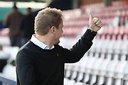 AFC Wimbledon manager Neal Ardley giving thumbs up during the EFL Sky Bet League 1 match between AFC Wimbledon and Peterborough United at the Cherry Red Records Stadium, Kingston, England on 12 November 2017. Photo by Matthew Redman.