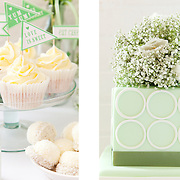 Green themed dessert table, Wedding Flowers magazine