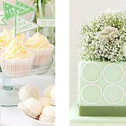 Green themed dessert table, Wedding Flowers magazine