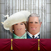 """These royal portraits created by the finger artist DITO VON TEASE<br />known as """"il Dito"""", thatÕs Italian for Òthe FingerÓ. a funny invitation to people to be curious about the complex mystery of personal identities ...  <br /><br />Photo shows: Charles and Camilla<br />©Exclusivepix Media"""