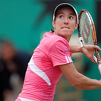 07 June 2007: Belgian player Justine Henin prepares a backhand shot to Serbian player Jelena Jankovic during the French Tennis Open semi final won 6-2, 6-2 by Justine Henin over Jelena Jankovic on day 12 at Roland Garros, in Paris, France.