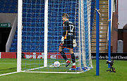 Joe Anyon of Chesterfield retrieves the ball after the equalising goal from Omari Patrick of Bradford City during the EFL Trophy match between Chesterfield and Bradford City at the b2net stadium, Chesterfield, England on 29 August 2017. Photo by Paul Thompson.
