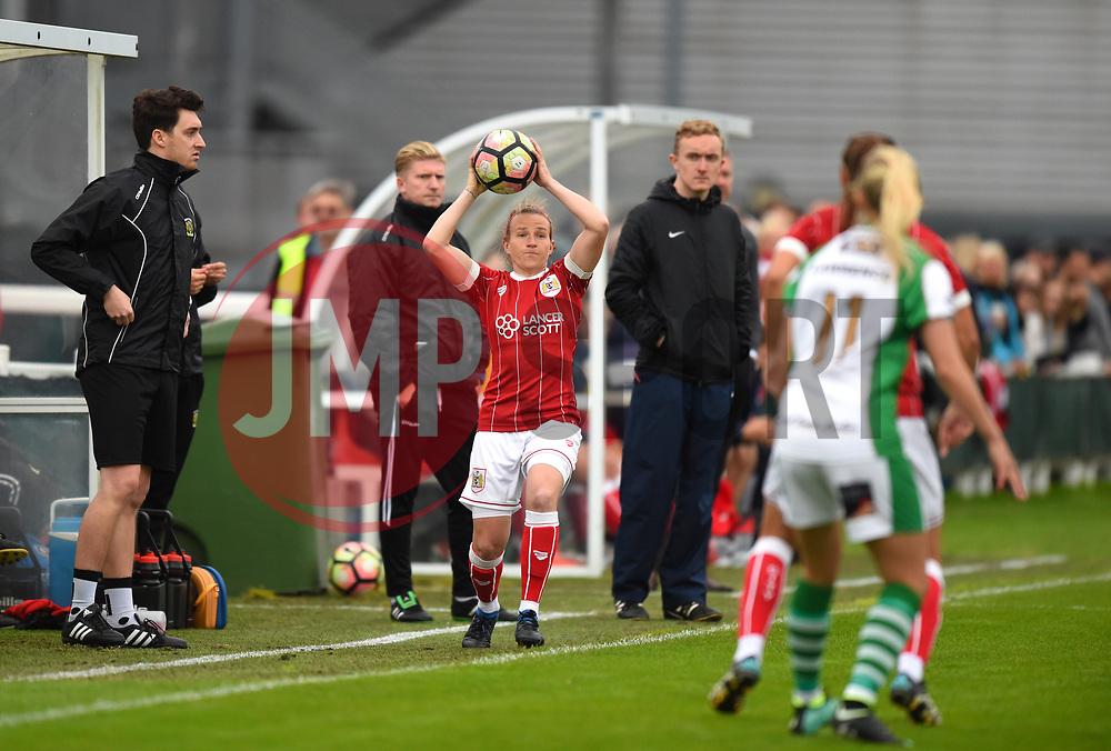 Frankie Brown of Bristol City Women takes a throw-in - Mandatory by-line: Craig Thomas/JMP - 30/09/2017 - RUGBY - Sixways Stadium - Worcester, England - Worcester Valkyries v Saracens Women - Tyrrells Premier 15s