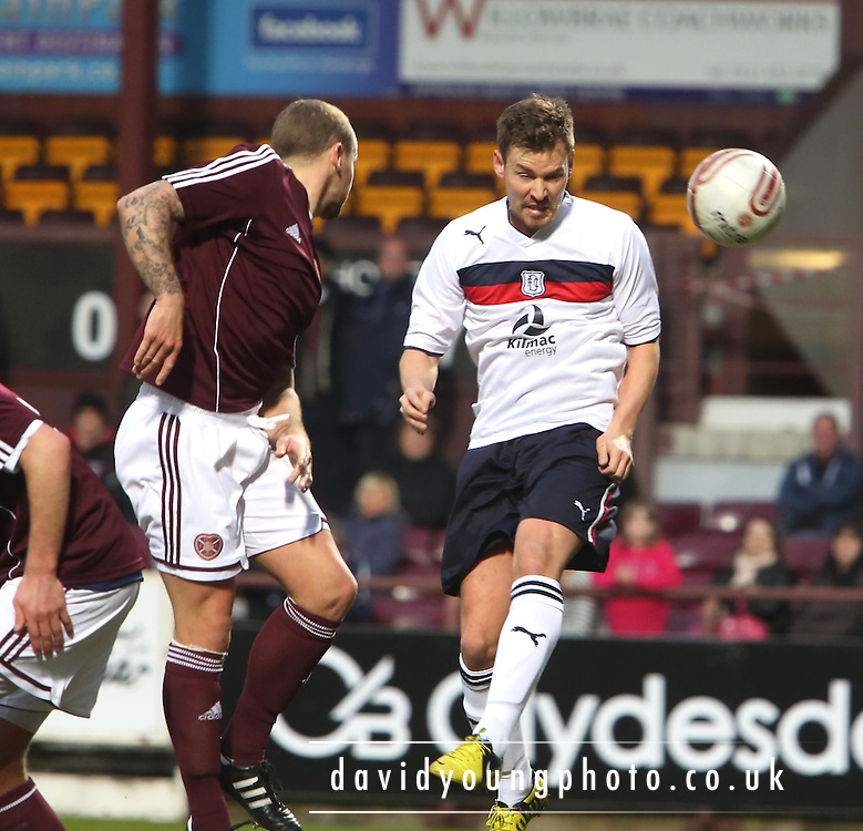 Andrew Barrowman beats Jamie Hamill to head goal ward - Hearts v Dundee - Scottish Premier League Under 20s.. - © David Young - www.davidyoungphoto.co.uk - email: davidyoungphoto@gmail.com