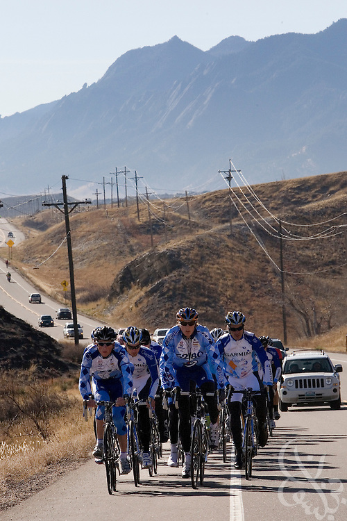 Team Garmin-Chipotle cyclists are seen on a team ride in the foothills just outside Boulder, Colorado November 22, 2008. The Garmin-Chipotle team is at the forefront of a new effort within the professional cycling world to establish strict new anti-doping/drug standards.  The team not only tests its riders for drugs, but has established biological profiles of team members that can be more easily monitored for changes that would indicate the use of illegal performance enhancing drugs or blood doping techniques.