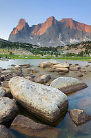 Sunrise on Cirque of the Towers from Lonesome Lake, Popo Agie Wilderness, Wind River Range Wyoming