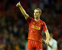 27.08.2013, Anfield, Liverpool, ENG, League Cup, FC Liverpool vs Notts County FC, 2. Runde, im Bild Liverpool's goalscorer Jordan Henderson celebrates after his side's 4-2 extra-time victory over Notts County during the English League Cup 2nd round match between Liverpool FC and Notts County FC, at Anfield, Liverpool, Great Britain on 2013/08/27. EXPA Pictures © 2013, PhotoCredit: EXPA/ Propagandaphoto/ David Rawcliffe<br /> <br /> ***** ATTENTION - OUT OF ENG, GBR, UK *****