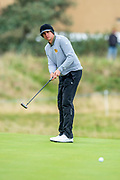 John Catlin putts on the 16th green during the final round of the Alfred Dunhill Links Championship European Tour at St Andrews, West Sands, Scotland on 29 September 2019.