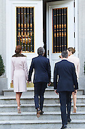 King Felipe VI of Spain, Queen Letizia of Spain, Mauricio Macri, President of Argentina, Juliana Awada attended an official lunch at Palacio de la Zarzuela on February 22, 2017 in Madrid, Spain.