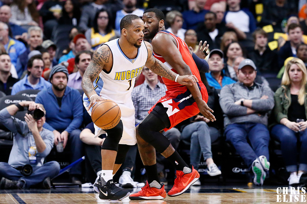 08 March 2017: Denver Nuggets guard Jameer Nelson (1) drives past Washington Wizards guard John Wall (2) during the Washington Wizards 123-113 victory over the Denver Nuggets, at the Pepsi Center, Denver, Colorado, USA.
