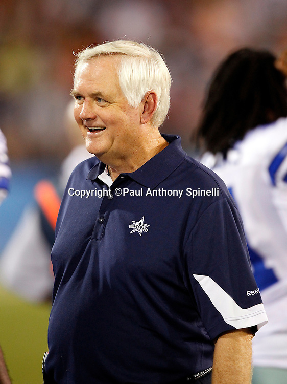 Dallas Cowboys Head Coach Wade Phillips smiles during the NFL Pro Football Hall of Fame preseason football game between the Dallas Cowboys and the Cincinnati Bengals on Sunday, August 8, 2010 in Canton, Ohio. The Cowboys won the game 16-7. (©Paul Anthony Spinelli)