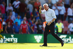 Crystal Palace Manager Alan Pardew thanks the fans for their support during their 2-1 win over Aston Villa - Mandatory byline: Jason Brown/JMP - 07966386802 - 22/08/2015 - FOOTBALL - London - Selhurst Park - Crystal Palace v Aston Villa - Barclays Premier League