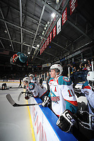 KELOWNA, CANADA, FEBRUARY 17: Shane McColgan #18 of the Kelowna Rockets stands on the bench opposite the Calgary Hitmen at the Kelowna Rockets on February 17, 2012 at Prospera Place in Kelowna, British Columbia, Canada (Photo by Marissa Baecker/Shoot the Breeze) *** Local Caption ***