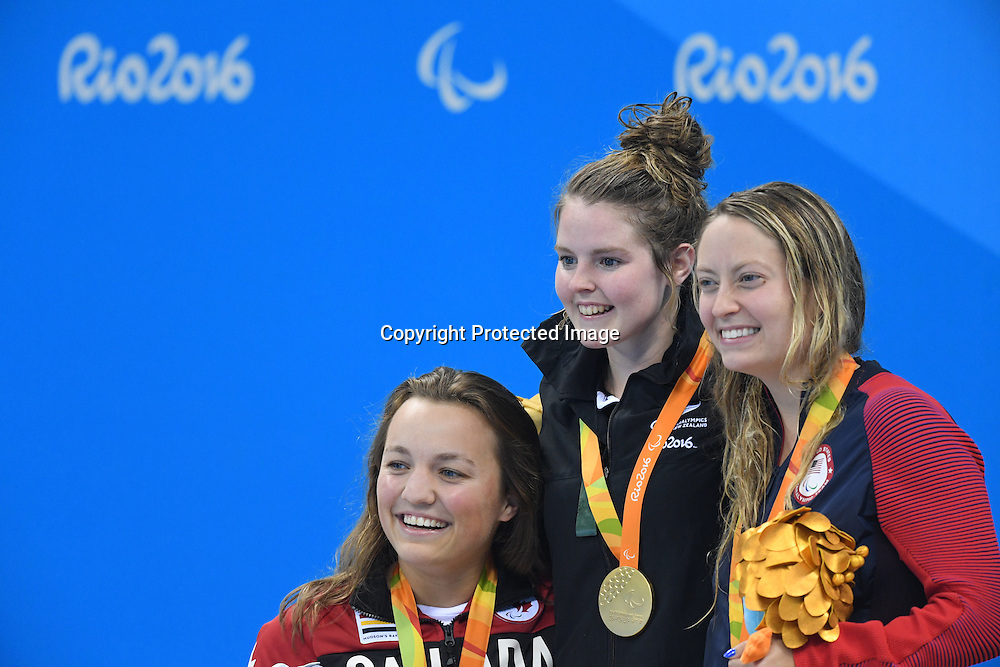 (L-R) Tess Routliffe (CAN), Nikita Howarth (NZL), Cortney Jordan (USA), <br /> SEPTEMBER 13, 2016 - Swimming : <br /> Women's 200m Individual Medley SM7 Medal Ceremony <br /> at Olympic Aquatics Stadium<br /> during the Rio 2016 Paralympic Games in Rio de Janeiro, Brazil.<br /> (Photo by AFLO SPORT)