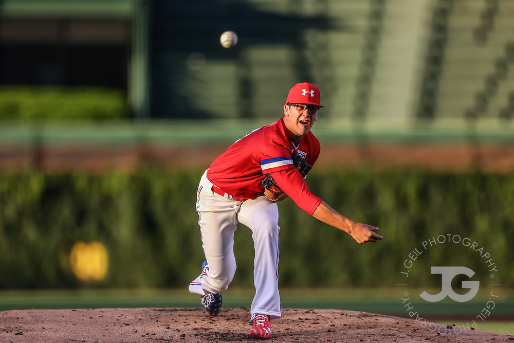 CHICAGO, IL - JULY 29:  Mason Denaburg delivers a pitch in the second inning of the Under Armour All-America Game at Wrigley Field on Saturday, July 29, 2017 in Chicago, Illinois. (Photo by J. Geil/MLB Photos via Getty Images) *** Local Caption ***