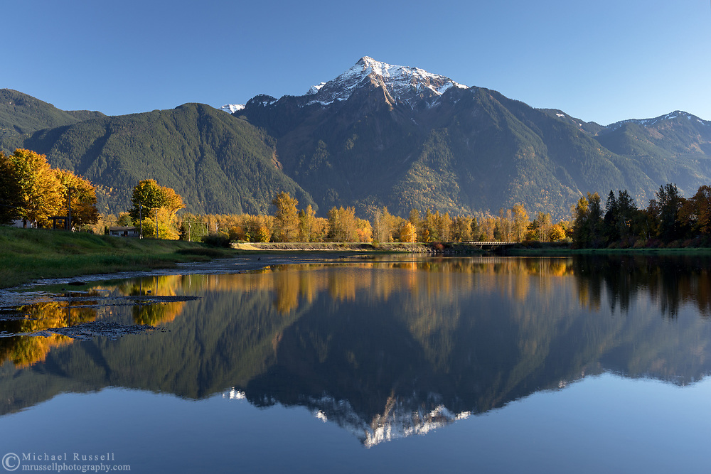 Mount Cheam reflected in the waters of Maria Slough on Seabird Island, Agassiz, British Columbia, Canada