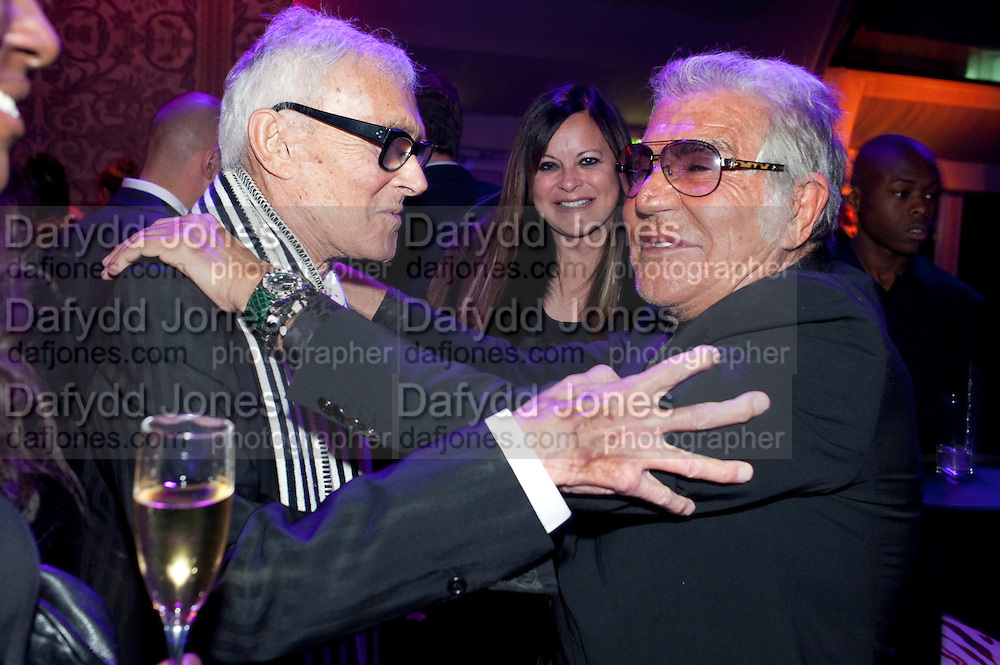 VIDAL SASSOON; RONNI SASSOON; ROBERTO CAVALLI, Dinner and party  to celebrate the launch of the new Cavalli Store at the Battersea Power station. London. 17 September 2011. <br /> <br />  , -DO NOT ARCHIVE-&copy; Copyright Photograph by Dafydd Jones. 248 Clapham Rd. London SW9 0PZ. Tel 0207 820 0771. www.dafjones.com.