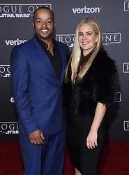 Celebrities arrive at the 'Rogue One: A Star Wars Story' movie premiere in Hollywood, California. 10 Dec 2016 Pictured: Donald Faison and CaCee Cobb. Photo credit: American Foto Features / MEGA TheMegaAgency.com +1 888 505 6342