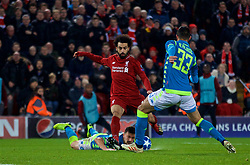 LIVERPOOL, ENGLAND - Tuesday, December 11, 2018: Liverpool's Mohamed Salah during the UEFA Champions League Group C match between Liverpool FC and SSC Napoli at Anfield. (Pic by David Rawcliffe/Propaganda)