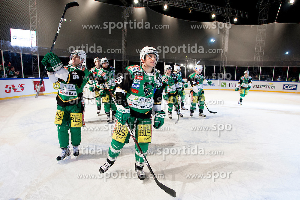 06.01.2013, Stadium Bezigrad, Ljubljana, SLO, EBEL, HDD Telemach Olimpija Ljubljana vs KHL Medvescak Zagreb 39. Runde, in picture players of HDD Telemach Olimpija celebrate after the Erste Bank Ice Hockey League in 39th Round match between HDD Telemach Olimpija Ljubljana and KHL Medvescak Zagreb at the open ice winter classic Stadium Bezigrad, Ljubljana, Slovenia on 2013/01/06. (Photo By Urban Urbanc / Sportida.com)