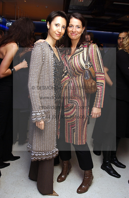 Left to right KIRA GNEDOVSKAYA and YANA PEEL at a dinner hosted by Cartier to celebrate the opening of the 2004 Frieze Art Fair, held at Yauacha 15-17 Broadwick Street, London W1 on 13th October 2004.<br /><br />NON EXCLUSIVE - WORLD RIGHTS