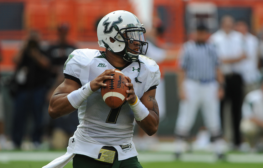 MIAMI GARDENS, FL - NOVEMBER 27: B. J. Daniels #7 of the South Florida Bulls in action during the game against the Miami Hurricanes at Sun Life Stadium in Miami Gardens, Florida on November 27, 2010. South Florida defeated the Hurricanes 23-20.