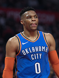 March 8, 2019 - Los Angeles, California, United States of America - Russell Westbrook #0 of the Oklahoma Thunder during their NBA game with the Los Angeles Clippers on Friday March 8, 2019 at the Staples Center in Los Angeles, California. Clippers defeat Thunder, 118-110.  JAVIER ROJAS/PI (Credit Image: © Prensa Internacional via ZUMA Wire)
