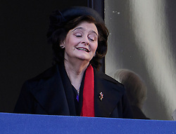 © Licensed to London News Pictures. 13/11/2016. London, UK.  CHERIE BLIAR, wife of former British prime minister TONY BLAIR attends a Remembrance Day Ceremony at the Cenotaph war memorial in London, United Kingdom, on November 13, 2016 . Thousands of people honour the war dead by gathering at the iconic memorial to lay wreaths and observe two minutes silence. Photo credit: Ben Cawthra/LNP